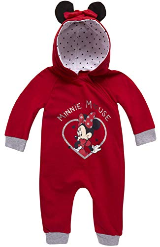 Disney Baby Girls Minnie Mouse One Piece Hooded Footless Romper Jumpsuit (Newborn and Infant), Size 24 Months, Minnie Red Heart