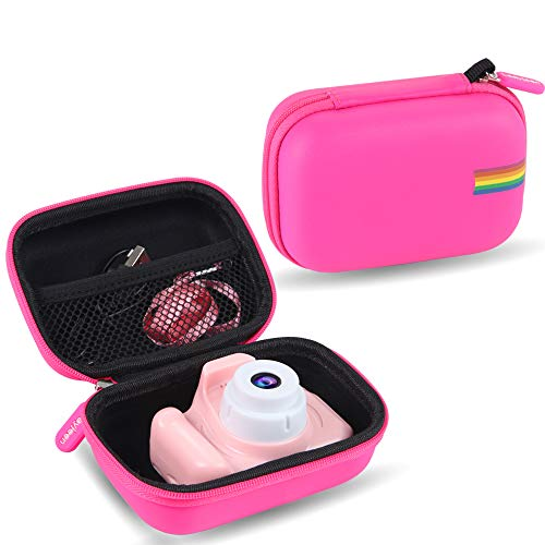 Leayjeen Kids Camera Case for Seckton/OMZER/OMWay Kids Camera Gifts for 4-8 Year Old Girls. Shockproof Storage Box fits for Toys Cameras(Case Only) (Pink)