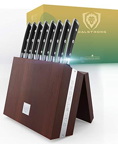 "DALSTRONG Steak Knife Folding Block Set – 8 Pc – 5"" Straight Edge Blade – Gladiator Series – Forged German ThyssenKrupp HC Steel – Modular Storage Block – Black G10 Handle – NSF Certified"