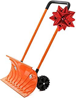 Snow Plow Shovel Pusher with Wheels