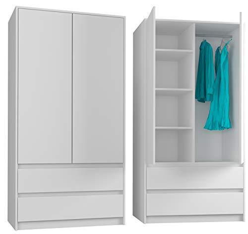 FRAMIRE B-9TIP Kleiderschrank in Weiß, 2-türiger Kleiderschrank, 2 Schubladen, Kleiderschrank für...