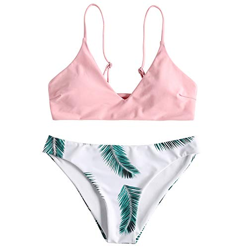 ZAFUL Women's Swimsuit Leaf Print Padded Bathing Suits Adjustable Straps Bikini Set Light Pink L