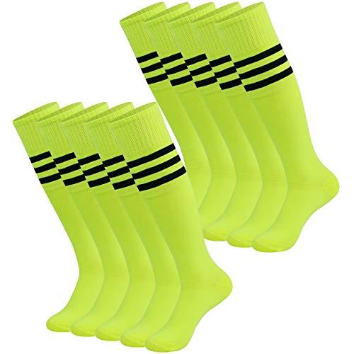 saounisi Woman Knee High Cheerleading Tube Socks, 10 Pairs Youth Boys Soccer Socks Black Stripe Football Soccer Team Socks Basketball Socks Men Size 9-13 Fluorescent Green