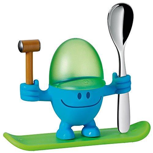 WMF McEgg Eierbecher mit Löffel, lustiger Eierbecher Kinder, Kunststoff, Cromargan Edelstahl poliert, spülmaschinengeeignet, blau