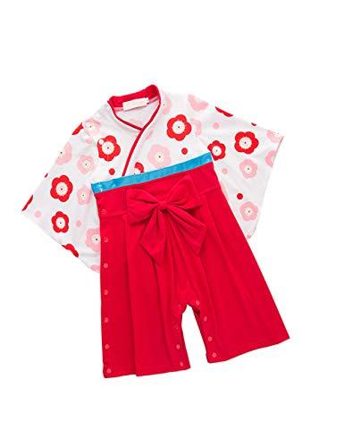 zhxinashu Infantil Mono Bebé Algodón Kimono - Las Niñas de Manga Larga Mameluco Chicos Estilo Japonés Ropa (Rojo)