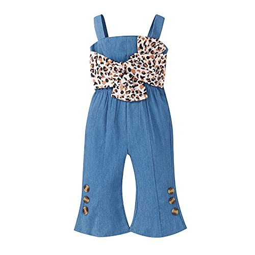 Little Girls Fall Jumpsuit Strap Leopard Printed Romper One Piece Outfit Romper Bell Bottom PantsCute Overalls (Blue, 9-12 Months)