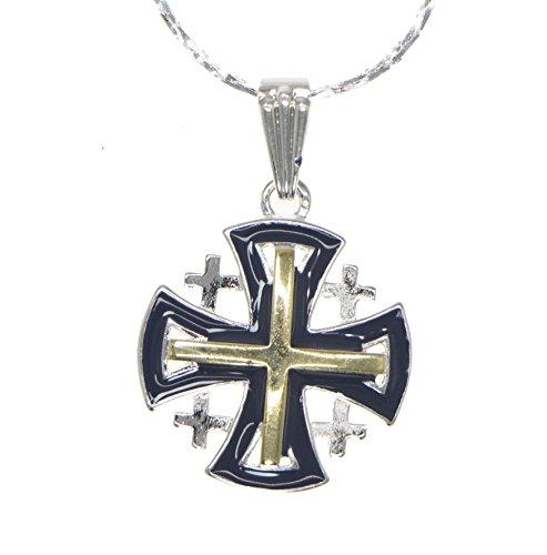 Jerusalem Kreuz-Anhänger Silber Schwarz Silber + Silber Halskette