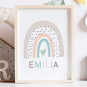 Baby Kinderzimmer Regenbogen Poster personalisiert mit Name A4 neues Baby Schwangerschaftsgeschenk