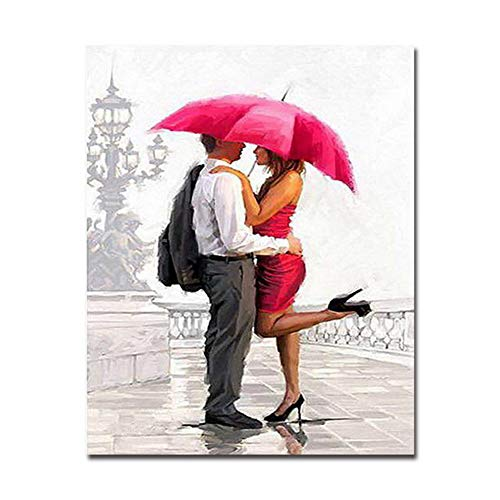 nr Liebhaber umarmen Regenschirme Malvorlagen Kalligraphie für Wohnzimmer Zeichnung Geschenke verwendet, um die Wand des Wohn 60x80cm No Frame zu schmücken