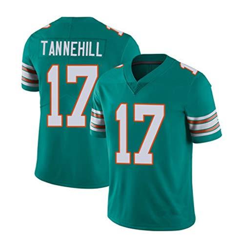 Hombre Rugby Jersey - Tannehill # 17 Dolphins American Football Jersey, Partidario Camiseta Deporte Bordado de Manga Corta Top Mejor Regalo Limpieza repetible Blue B-S