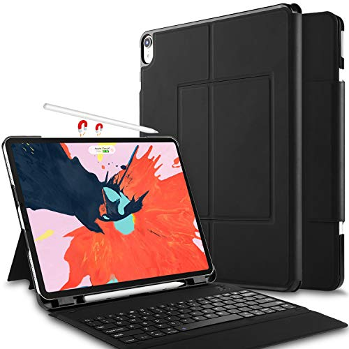 IVSO Case with Keyboard for ipad pro 12.9 2018-3rd Gen One-Piece Wireless Keyboard Stand Case Cover Auto Wake Sleep Apple Pencil Charging Supported Fit for Apple ipad pro 12.9 2018 (Black)