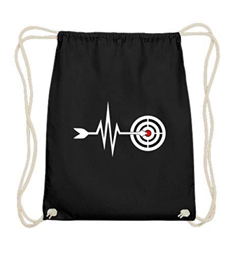 Shirtee Mein Herz schlägt für Bogensport - Bogenschiessen Pfeil Bogen Zielscheibe Herzschlag EKG - Baumwoll Gymsac -37cm-46cm-Schwarz