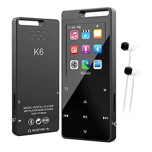 8GB Bluetooth 5.0 MP4 Player, Zerstörungsfreier Musik Mp3 Player Mini Walkman MP3 Bluetooth Sport Körper Effekt Touchscreen Fm Radio Und Video Wiedergabe, Diktiergerät Unterstützung Bis Zu 128GB