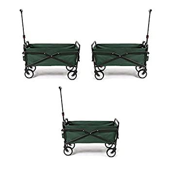 Seina Heavy Duty Compact 150 Pound Capacity Outdoor Utility Cart Green  3 Pack