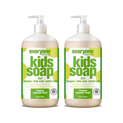 Everyone 3-in-1 Kids Soap: Shampoo, Body Wash, and Bubble Bath, Tropical Coconut Twist, 32 Ounce, 2 Count -  EO Products / Small World Trading Co., 653801353464