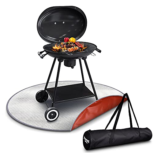 """Fire Pit Mat - 24/36"""" Fire Resistant Mat for Outdoor Cooking, High Temp Portable Campfire Accessories for Bonfire, Grill, Gas Fire Pit, Propane Fire Pit Table, Grass, Lawn, Patio and Deck Protector"""