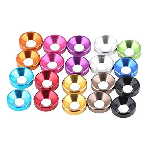 M4 / 4mm Countersunk Head Washers Aluminum Alloy Washers Colorful Choose (15Pcs, Wine Red)