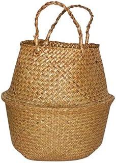 Handmade Seagrass Storage Baskets Foldable Woven Storage Pot Belly Basket Garden Flower Pot Planting Hanging Basket 1 Pcs (Color : Khaki, Sheet Size : S)