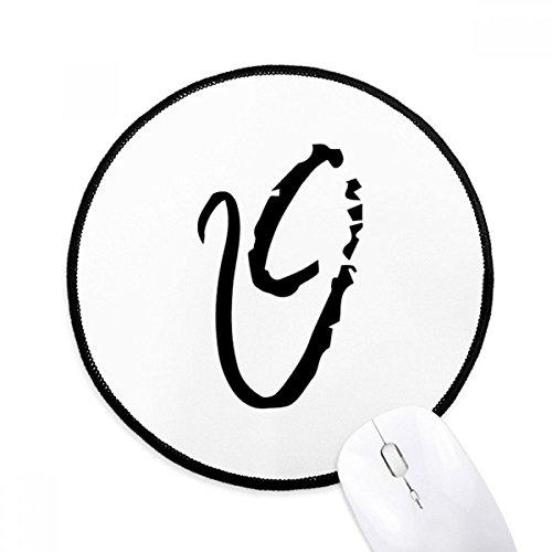 DIYthinker Greek Alphabet Theta Schwarze Silhouette Runde Griffige Mousepads Schwarz Titched Kanten Spiel Büro-Geschenk