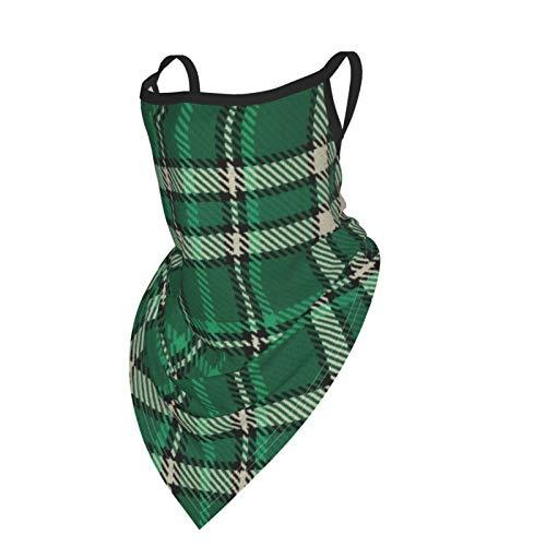 Bandana unisex de tela máscara facial verde crema y negro a cuadros pasamontañas lavable con orejeras cuello bufanda polvo viento motocicleta máscara mujeres hombres al aire libre