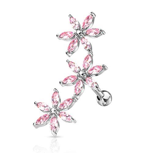 Trendy-Sandy Tragus Piercing - Zirkonia Blumen Anhänger Ohrring Ohrpiercing Piercing Helix #760 Silberfarben-Pink