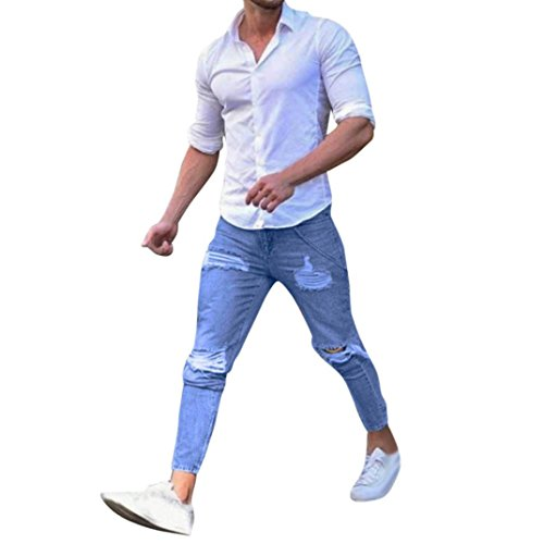 Qmber Hosen Herren Jeans Destroyed Slim fit Hose Herren Jeans Destroyed Sommer Hosen Herren Jogger Jeans mit löchern schwarz Stretch - Skinny Jeans Slim Fit Denim Pants Herren (S, Blua)
