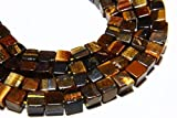 World Wide Gems Beads Gemstone 16 Inch Long Full Strand Natural Tiger Eye Smooth Cube Beads 4mm to 5mm Cube Shape Tiger Eye Gemstone Beads Strand Gem Stone Briolettes Code-HIGH-39380