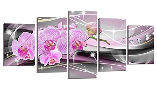 bestpricepictures 200 x 100 cm Bild auf Leinwand Orchidee rosa 6340-SCT deutsche Marke und Lager - Die Bilder/das Wandbild/der Kunstdruck ist fertig gerahmt