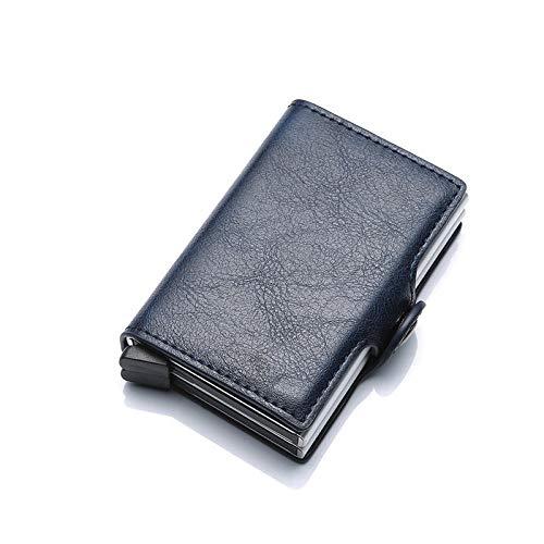 Kreditkartenetui aus RFID Dunkelblaue Männer Geldsack Dünne Mini Geldbörse Männliche Metall Aluminium Kartenmappe Kleine Smart Geldbörse Leder Doppel Vallet Pocket Man