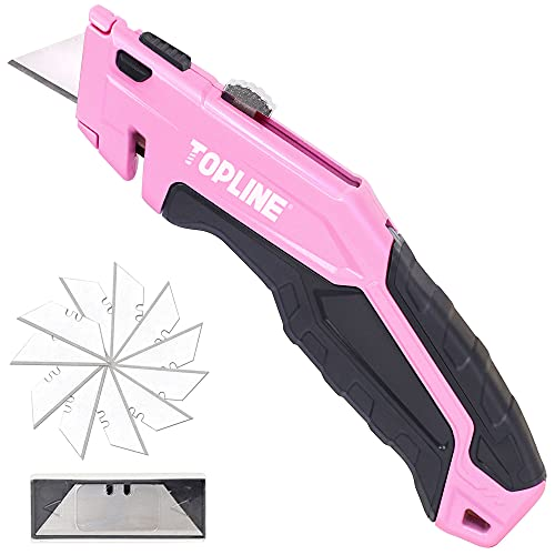 TOPLINE Pink Retractable Utility Knife, Retractable Box Cutter, Blade Storage Design, 14-Piece SK5 Blades and a Dispenser Included (Pink)