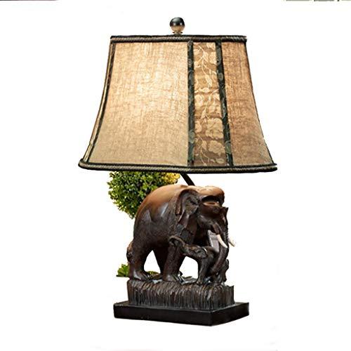 Lámpara de mesa Sala de estar Dormitorio Lámpara de noche Lámpara de elefante marrón clásica (Tamaño : B)