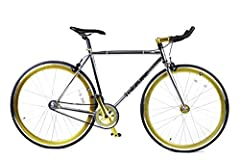 4130 Chromoly Frame and Chromium Plated for a Polished Finish Look Blue/ Gold Anodized Accents Flip Flop Hub: Ride Single Speed or Fixed Gear Alloy Stem, Rims and Handlebar KENDA 700CX23C Tires and KENDA 700CX23C Long Presta Valve Butyl Rubber Tube