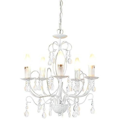 [lux.pro] Lampadario a corona con cristali sintetici- Antique - (5 attacchi E14)(40cm x Ø 44cm) Lampada a corona [attacco a morsetto] Lampada da camera Lampada da soggiorno