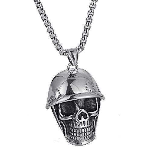 ANAZOZ Halskette für Herren Schädel mit Hut Biker Kette Kettenanhänger Herren Edelstahl Hip Hop Schmuck Silber Geschenk für Mann
