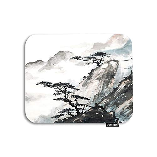 Moslion Mountain Mouse Pad Chinese Landscape Painting Nature Cliff Trees Cloud Gaming Mouse Pad Rubber Large Mousepad for Computer Desk Laptop Office Work 7.9x9.5 Inch