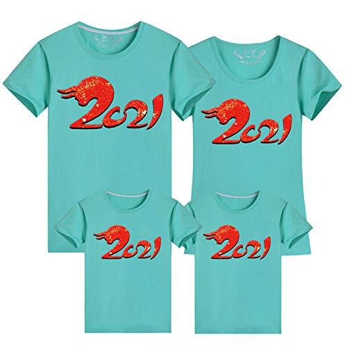 SANDA Familien Outfit,2021 vierköpfige Eltern-Kind-Kurzarm-T-Shirts Neujahrskleidung-rosa grünlich_Männlich M.