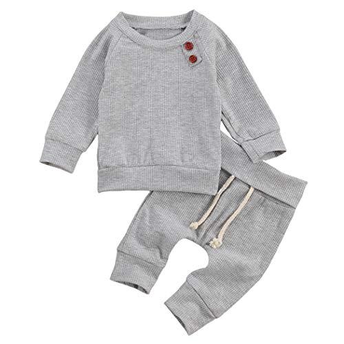 Geagodelia Babykleidung Set Baby Jungen Mädchen Kleidung Outfit Langarm T-Shirt Top + Hose Neugeborene Weiche Einfarbige Babyset T-8718 (Grau, 0-3 Monate)