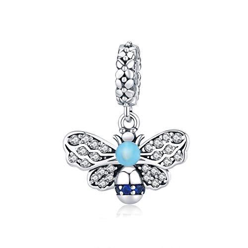 Abalorio de plata de ley 925 con esmalte azul de abeja compatible con pulseras Pandora y collares