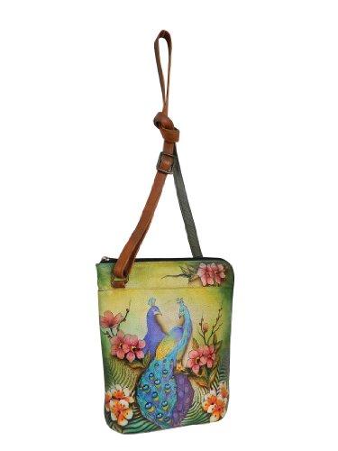 Anuschka Damen-Reiseorganizer aus echtem Leder, zweiseitiger Reißverschluss, handbemalt, Original-Kunstwerk, (Leidenschaftliche Pfauen), Einheitsgröße