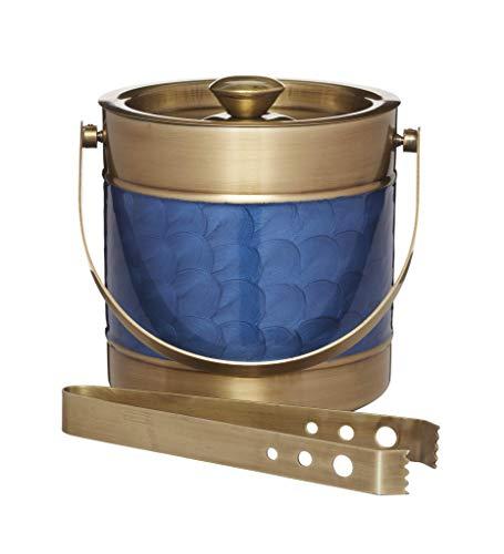 BarCraft Midnight Luxe - Secchiello per il ghiaccio con coperchio e pinze, in acciaio inox, colore: Blu e Ottone