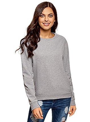 oodji Ultra Mujer Suéter Básica de Algodón, Gris, ES 36 / XS