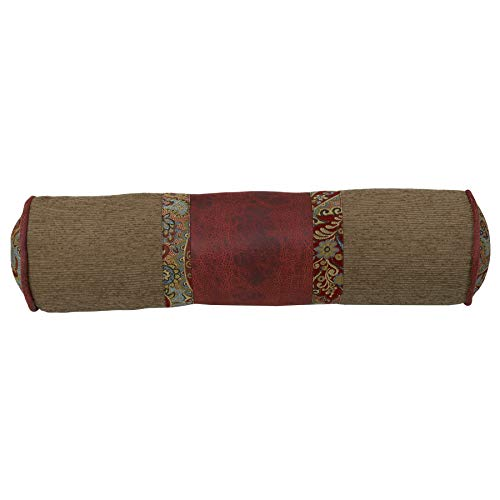 "HiEnd Accents San Angelo Western Chenille, Faux Leather & Paisley Bolster Pillow, 8"" x 26"", Tan & Red"