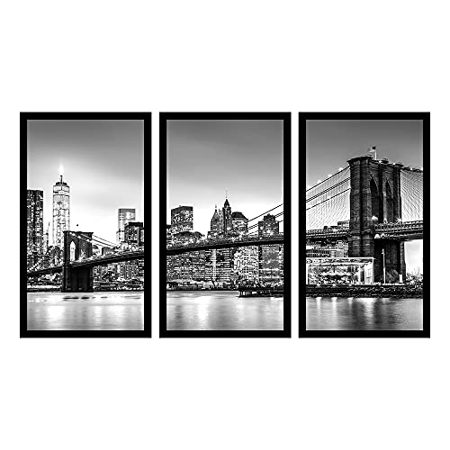 Kit 3 Quadros Decorativos Grandes Preto e Branco Manhattan
