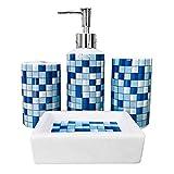 MUZI Juego de 4 accesorios de baño de cerámica con diseño moderno, dispensador de jabón, soporte para cepillo de dientes, vaso, jabonera (mosaico azul)