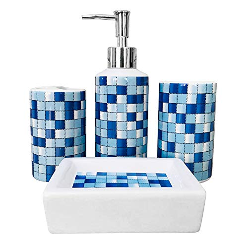 MUZI Badezimmer-Zubehör-Set aus Keramik, modernes Design, Seifenspender, Zahnbürstenhalter, Becher, Seifenschale (blaues Mosaik)