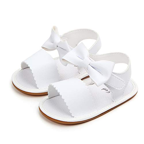 Siyova Zapatos para bebé con diseño de princesa, con lazo, para primeros pasos, cómodos, antideslizantes, de princesa, para niña, de estilo informal, de paseo blanco 12 meses