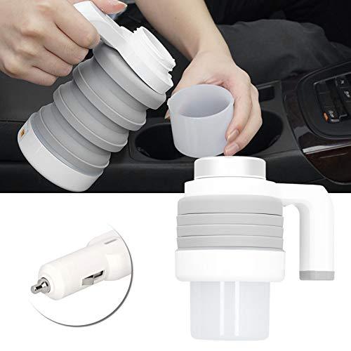 Hervidor de agua caliente electrico, 550 ml, 12 V, hervidor electrico plegable para coche, encendedor de cigarrillos para coche con control de temperatura inteligente, pantalla digital