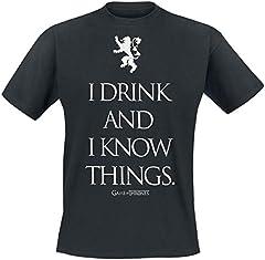 Camiseta Juego de Tronos Color Negro para Hombres -  I Drink and I Know Things