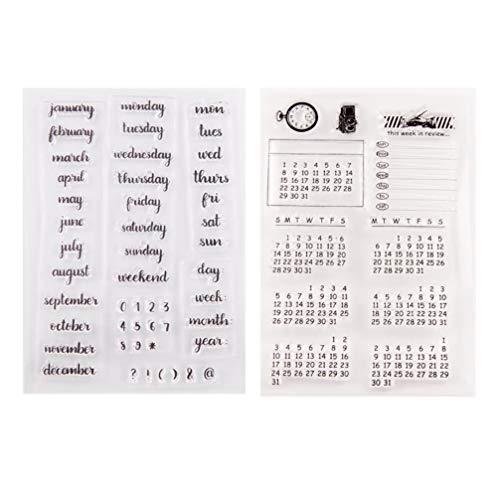 Exceart Transparente Silikon-Stempel, Siegelstempel, Woche, Monat, Kalender, Stempel für Fotoalbum, Kartenherstellung, Album, Buch, 2 Stück