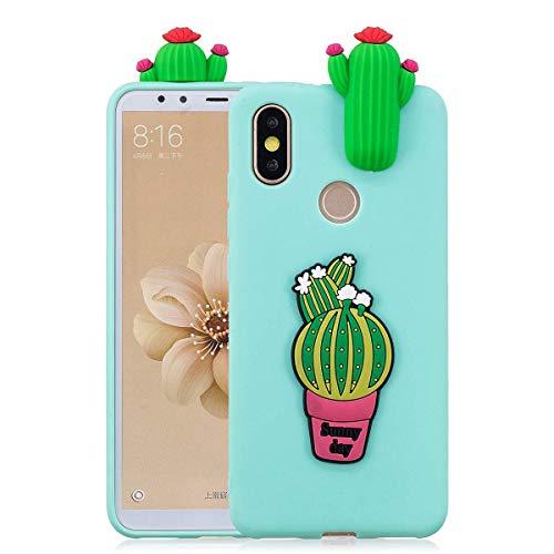 LAXIN Kompatibel mit Xiaomi Mi 6X Hülle, Silikon, 3D süßes Muster [Kaktus] Girly Matte Abdeckung Schutz Ultra Dünn Slim Bumper Einteilig Stoßfest für Mädchen Jungen Männer Frauen